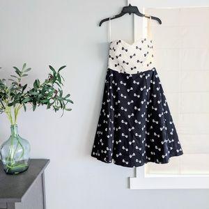 EUC Strapless Hobbs Invitation Bow Print Dress